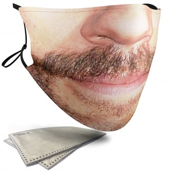 Moustache with Stubble Beard – Adult Face Masks – 2 Filters Included