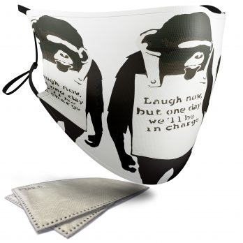 Laugh Now Chimps – Banksy – Adult Face Masks – 2 Filters Included