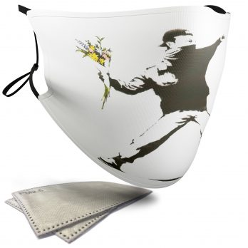 Rage, Flower Thrower – Banksy – Adult Face Masks – 2 Filters Included