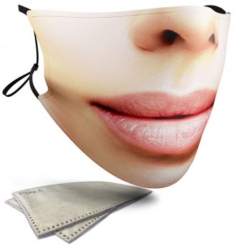 Pink Lips Female Face – Adult Face Masks – 2 Filters Included