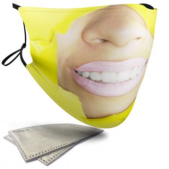 Yellow Ripped Paper Female Face – Adult Face Masks – 2 Filters Included