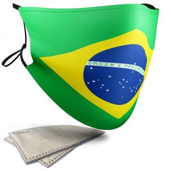 Brazil Flag – Adult Face Masks – 2 Filters Included