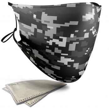Dark Grey Pixelated Camouflage – Adult Face Masks – 2 Filters Included