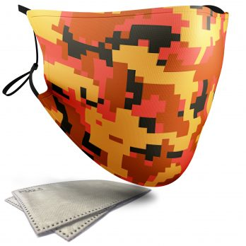 Orange Pixelated Camouflage – Adult Face Masks – 2 Filters Included