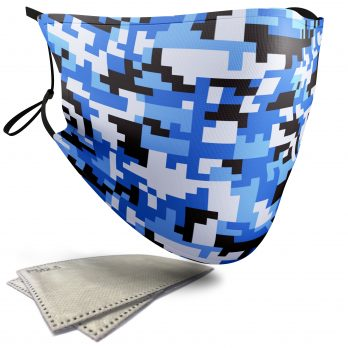 Blue Pixelated Camouflage – Adult Face Masks – 2 Filters Included