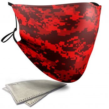 Red Pixelated Camouflage – Adult Face Masks – 2 Filters Included