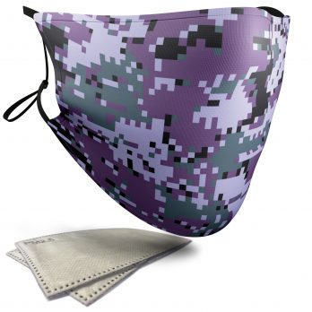 Purple Pixelated Camouflage – Adult Face Masks – 2 Filters Included