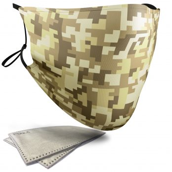 Desert Pixelated Camouflage – Adult Face Masks – 2 Filters Included