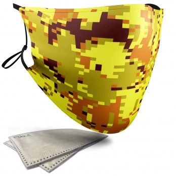 Yellow Pixelated Camouflage – Adult Face Masks – 2 Filters Included