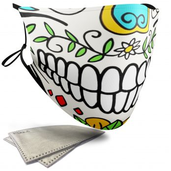 Day of the Dead Skull – Adult Face Masks – 2 Filters Included