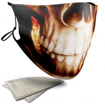 Flaming Skull – Adult Face Masks – 2 Filters Included