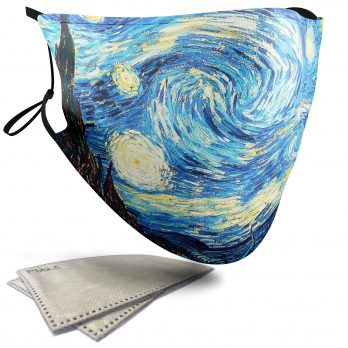 The Starry Night Landscape Painting – Adult Face Masks – 2 Filters Included