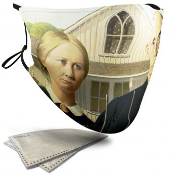 American Gothic Painting – Adult Face Masks – 2 Filters Included