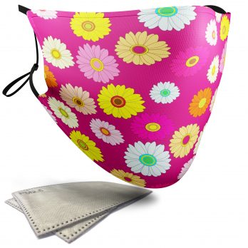 Daisy Floral Pattern – Adult Face Masks – 2 Filters Included