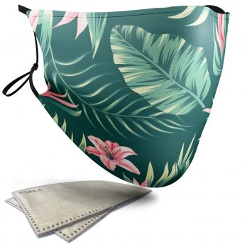 Tropical Floral Pattern – Adult Face Masks – 2 Filters Included