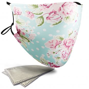 Polka Dot Roses Floral Pattern – Adult Face Masks – 2 Filters Included