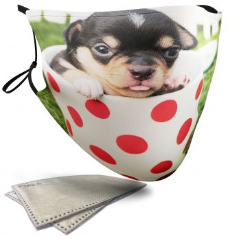 Cute Puppy in a Tea Cup – Adult Face Masks – 2 Filters Included