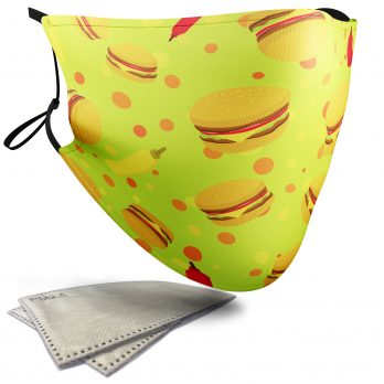 Burger Food Pattern – Adult Face Masks – 2 Filters Included