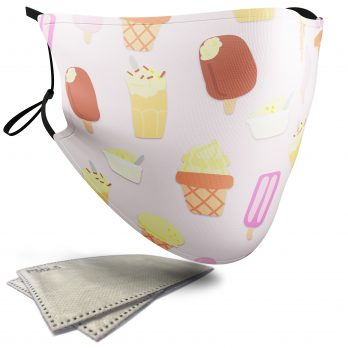 Ice Cream Food Pattern – Adult Face Masks – 2 Filters Included