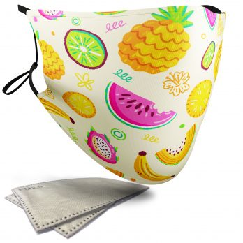 Tropical Fruit Food Pattern – Adult Face Masks – 2 Filters Included