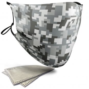 Grey Pixelated Camouflage – Child Face Masks – 2 Filters Included
