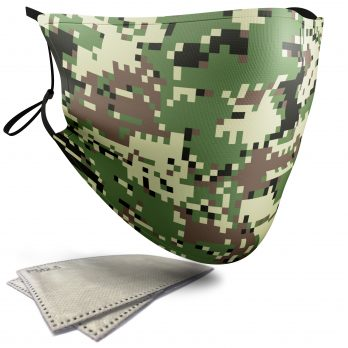 Green Pixelated Camouflage – Child Face Masks – 2 Filters Included