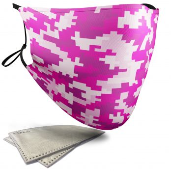 Pink Pixelated Camouflage – Child Face Masks – 2 Filters Included