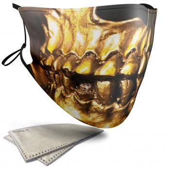 Gold Skull – Child Face Masks – 2 Filters Included