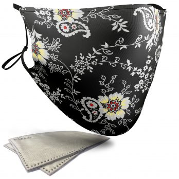 Black and Grey Floral Pattern – Child Face Masks – 2 Filters Included