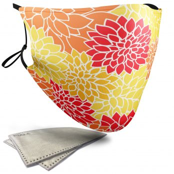 Chrysanthemum Floral Pattern – Child Face Masks – 2 Filters Included