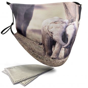 Cute Elephant Calf's Holding Trunks – Child Face Masks – 2 Filters Included