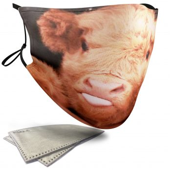 Cute Highland Cow Sticking its Tongue Out – Child Face Masks – 2 Filters Included